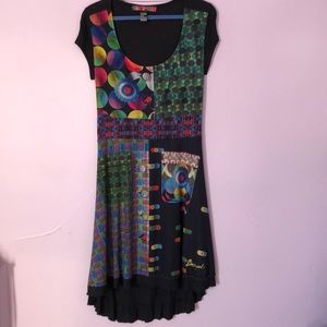Colourful Desigual scoop neck short sleeve dress